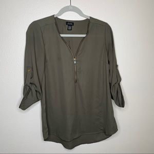 Justify V-Neck Army Green Blouse